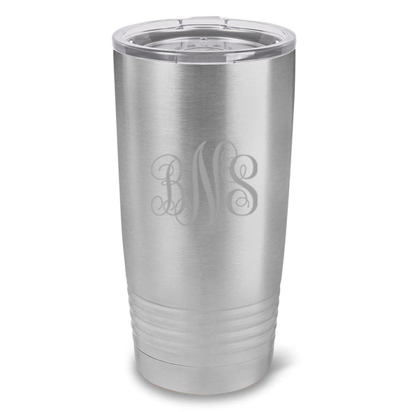 Personalized Húsavík 20 oz. Stainless Silver Double Wall Insulated Tumbler - All - InterlockingMonogram - JDS