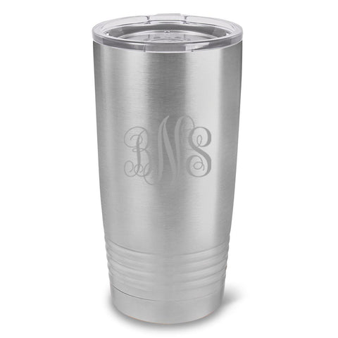 Personalized Húsavík 20 oz. Stainless Silver Double Wall Insulated Tumbler - All - InterlockingMonogram