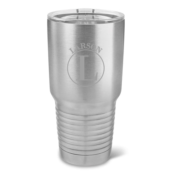 Personalized 30 oz. Stainless Silver Insulated Tumbler - All - Circle - JDS