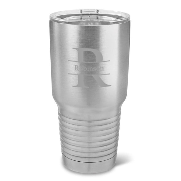 Personalized 30 oz. Stainless Silver Insulated Tumbler - All - Stamped - JDS