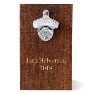 Personalized Wood Plank Wall Mounted Bottle Opener - 2Lines - JDS