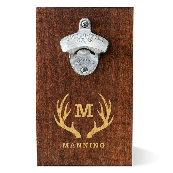 Personalized Wood Plank Wall Mounted Bottle Opener - Antlers - JDS