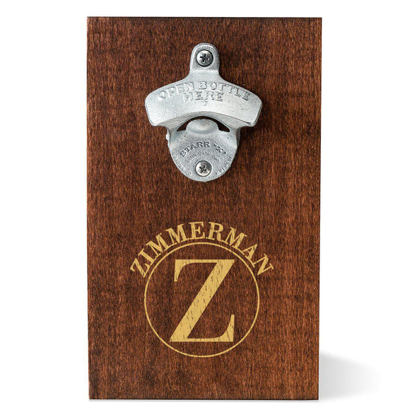 Personalized Wood Plank Wall Mounted Bottle Opener - Circle - JDS