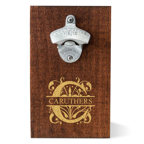 Personalized Wood Plank Wall Mounted Bottle Opener - Filigree - JDS