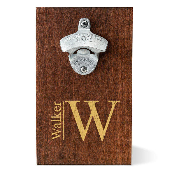 Personalized Wood Plank Wall Mounted Bottle Opener - Modern - JDS