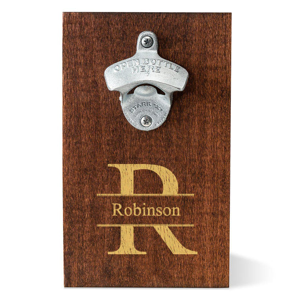 Personalized Wood Plank Wall Mounted Bottle Opener - Stamped - JDS