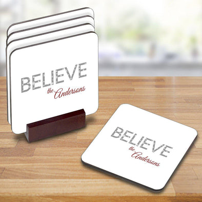 Personalized Christmas Coasters - Believe - JDS