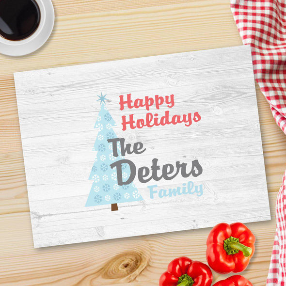 Personalized Christmas Glass Cutting Board - 12 designs - Happy Holidays - JDS