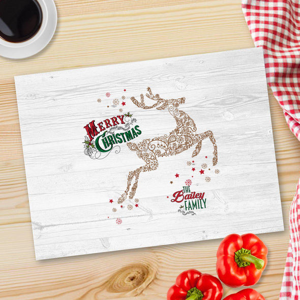Personalized Christmas Glass Cutting Board - 12 designs - Vintage Deer - JDS
