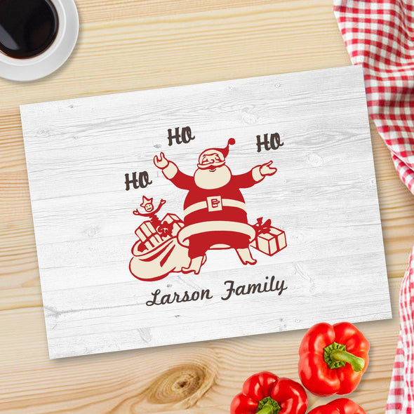 Personalized Christmas Glass Cutting Board - 12 designs - Vintage Santa - JDS