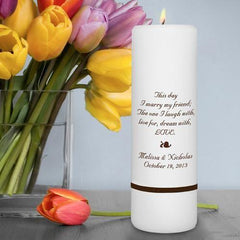 "Personalized Wedding Unity Candle - Personalized 3""x 9"" Candle"