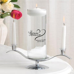 Personalized Floating Unity Candle Set - Carved Heart -