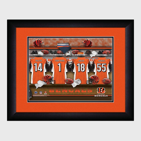 Personalized NFL Locker Sign w/Matted Frame - Bengals -  - Professional Sports Gifts - AGiftPersonalized