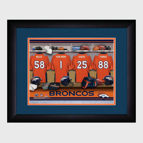 Personalized NFL Locker Sign w/Matted Frame - Broncos -  - Professional Sports Gifts - AGiftPersonalized