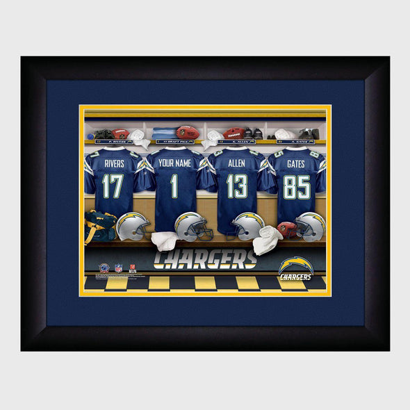 Personalized NFL Locker Sign w/Matted Frame - Chargers -  - JDS