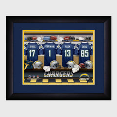 Personalized NFL Locker Sign w/Matted Frame - Chargers -  - Professional Sports Gifts - AGiftPersonalized