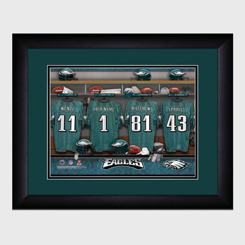 Personalized NFL Locker Sign w/Matted Frame - Eagles -  - Professional Sports Gifts - AGiftPersonalized