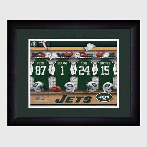 Personalized NFL Locker Sign w/Matted Frame - Jets -