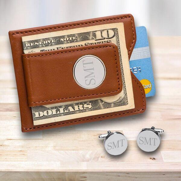Personalized Brown Leather Money Clip & Pin Stripe Cufflinks Gift Set