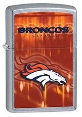 Personalized Broncos Lighter - NFL - Zippo - Brushed Chrome