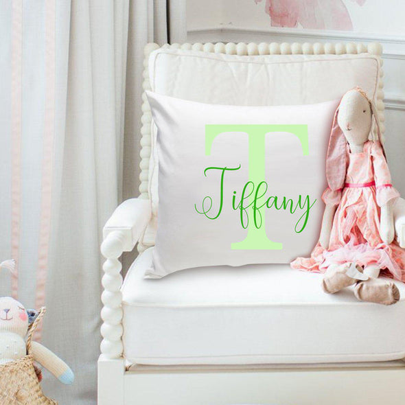 Personalized Girls Name Throw Pillow - Two Tone - Green - JDS