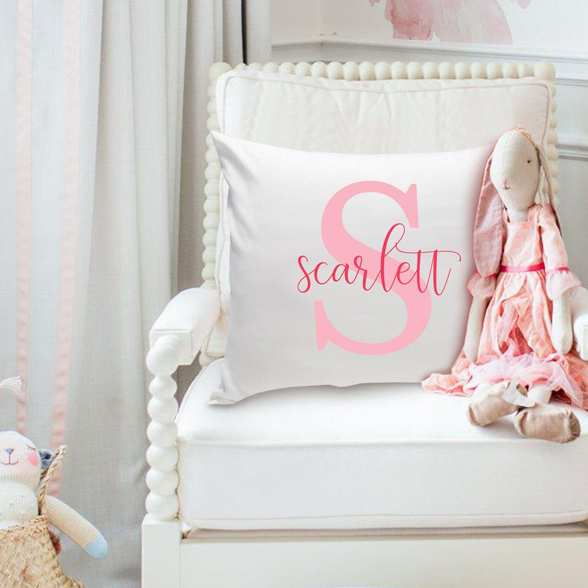 Girls Name Personalized Throw Pillow - Two Tone