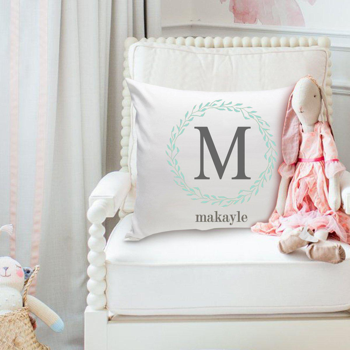 Girls Name Personalized Throw Pillow - Wreath