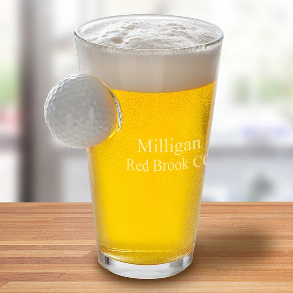 Personalized Golf Ball Pint Glass - 16 oz. - 2lines - JDS