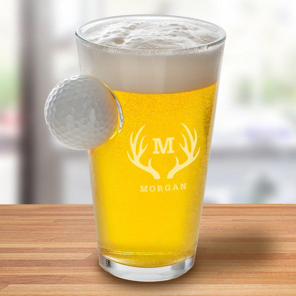 Personalized Golf Ball Pint Glass - 16 oz. - Antlers - JDS