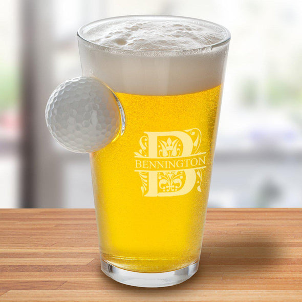 Personalized Golf Ball Pint Glass - 16 oz. - Filigree - JDS