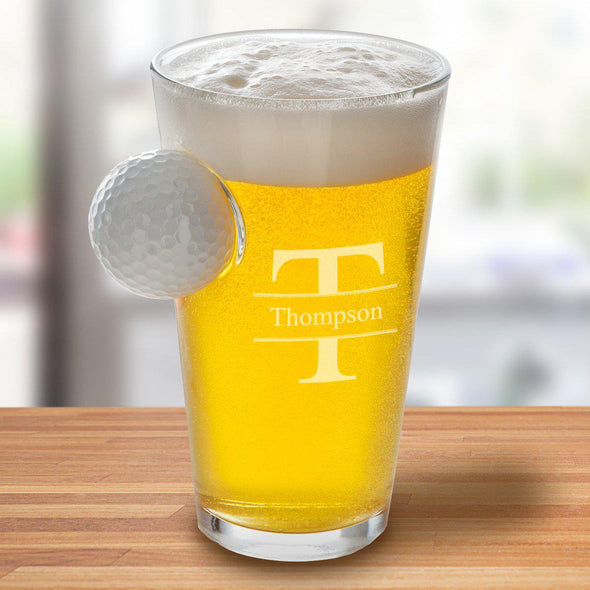 Personalized Golf Ball Pint Glass - 16 oz. - Stamped - JDS