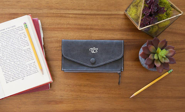 Monogrammed Womens Wallets - Black - Qualtry