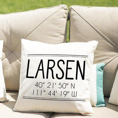 Personalized Location Throw Pillow Covers -  - Qualtry