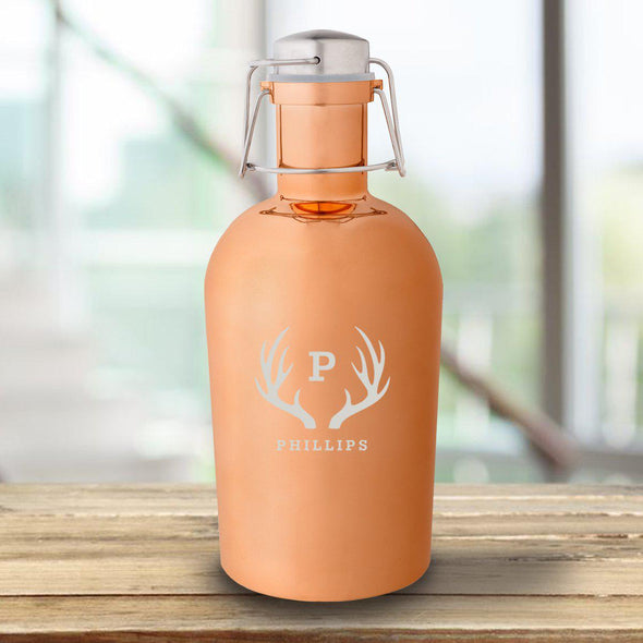 Personalized Copper Growler - 64 oz. - Antlers - JDS