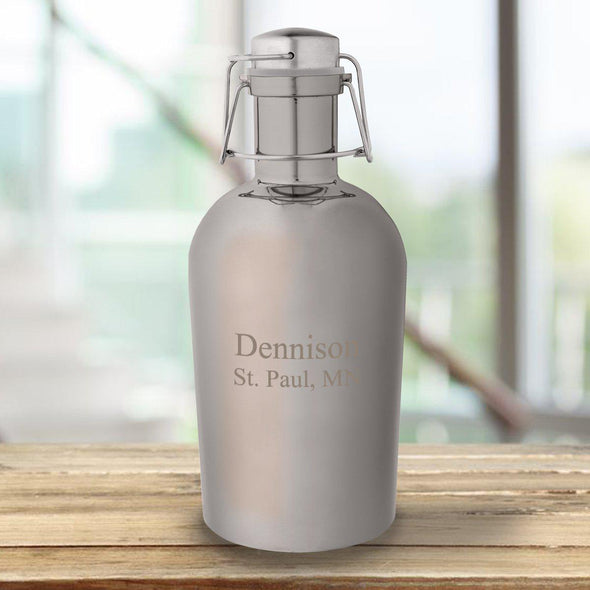 Personalized Gunmetal Growler - 64 oz. - 6 Designs - 2Lines - JDS