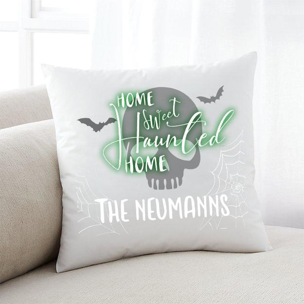 Personalized Little Monsters Haunted Home Halloween Throw Pillow