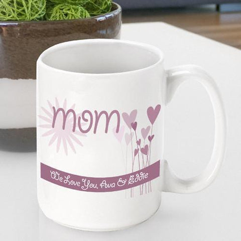 Personalized  Mother's Day Coffee Mug - Hearts - Gifts for Mom - AGiftPersonalized
