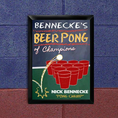 Personalized Beer Pong Traditional Sign - Champion