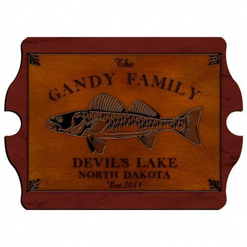 Personalized Cabin Series Wood Signs - Walleye - JDS