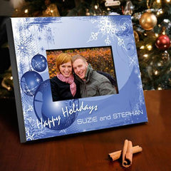 Personalized Holiday Picture Frame - BlueXMas - Frames - AGiftPersonalized