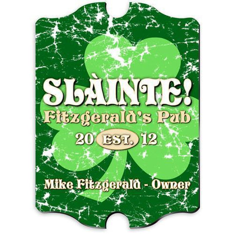 Personalized Irish Themed Vintage Sign - JollyGreenClover
