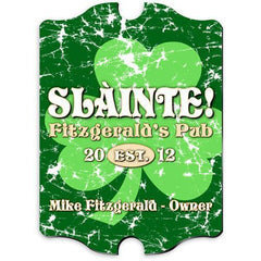 Personalized Irish Themed Vintage Sign - JollyGreenClover - Irish Gifts - AGiftPersonalized
