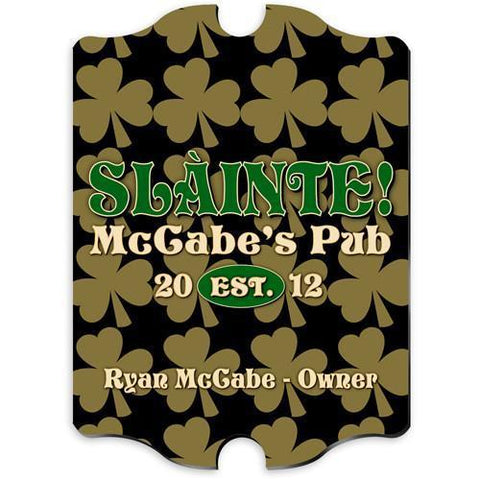 Personalized Irish Themed Vintage Sign - FieldofClover - Irish Gifts - AGiftPersonalized