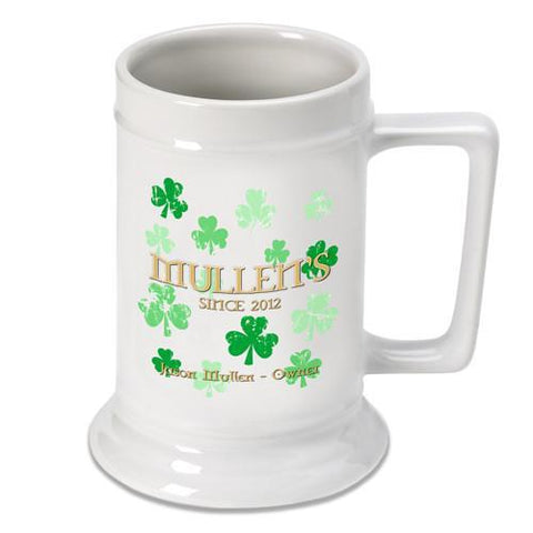 Personalized Irish Theme Beer Stein - RainingClovers - Irish Gifts - AGiftPersonalized