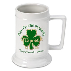 Personalized Irish Theme Beer Stein - TopOtheMorning - Irish Gifts - AGiftPersonalized
