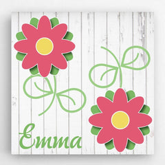 Personalized Kids Canvas Signs - 5 unique designs - Flowers - Canvas Prints - AGiftPersonalized
