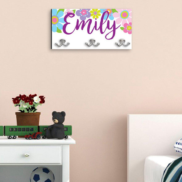Personalized Children's Coat Hanger - Butterflies & Blooms with Black Edge -  - JDS