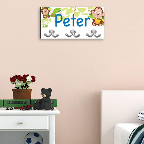 Personalized Children's Coat Hanger - Monkey Business with Black Edge -  - Home Decor - AGiftPersonalized