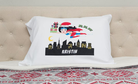 Personalized Christmas Girl Superhero Pillowcases -  - Qualtry