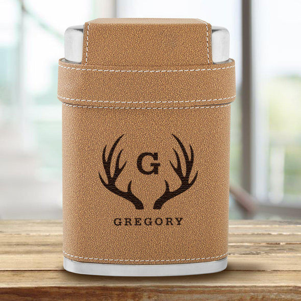 Dewsbury Flask and Shot Set with 3 Steel Shot Glasses - Antlers - JDS